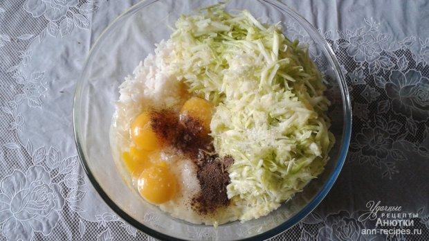 Запеканка из кабачков, фарша и риса